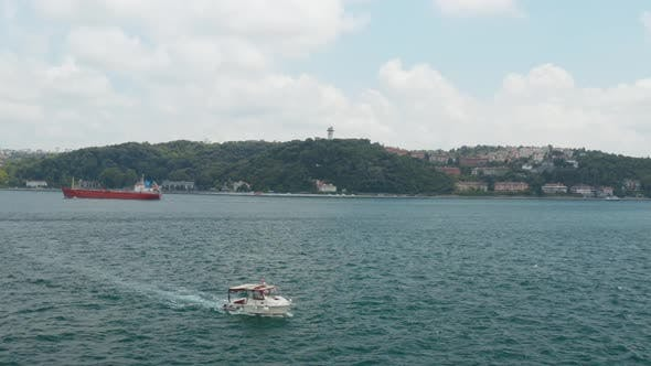Thumbnail for Istanbul Bosphorus Boat Passing Aerial View