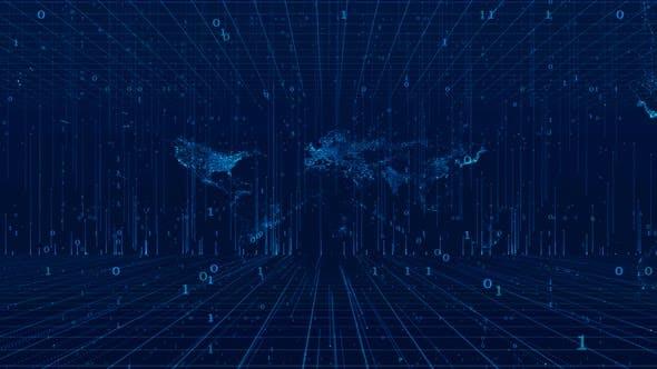 Thumbnail for Digital Data Network Technology Background 4K