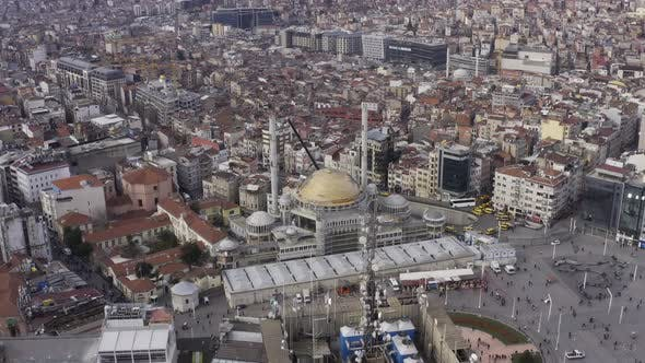 Thumbnail for Istanbul Taksim Square And Mosque Construction Aerial View 4