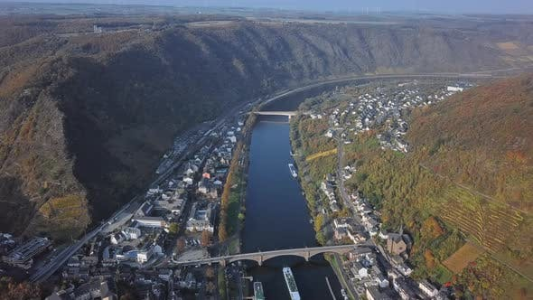 Thumbnail for Flight Over Cochem Town and Vineyards, Germany