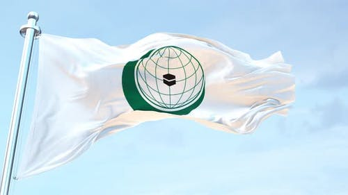Organisation Of Islamic Cooperation flag waving 4k