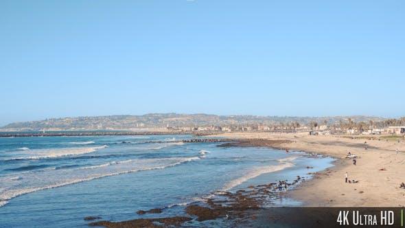 4K Pacific Ocean and Ocean Beach Coastline During Low Tide in San Diego, California