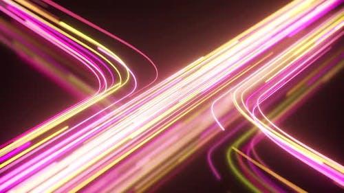 Yellow and Purple Neon Stream