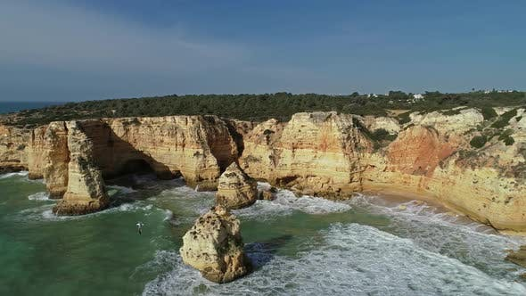Thumbnail for Aerial View on Rock and Waves in Algarve Portugal