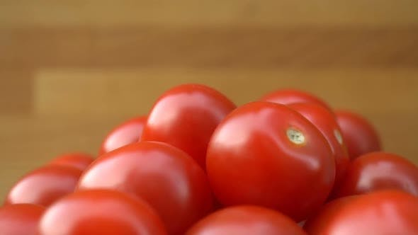 Thumbnail for Red Cherry Tomatoes Rotating on a Plate.
