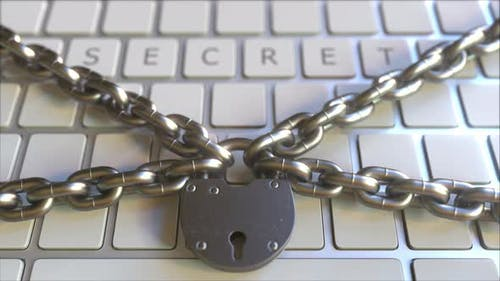 SECRET Word on the Keyboard with Padlock and Chains