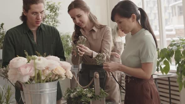 Florists Making Flower Arrangement