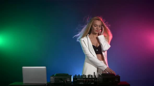 Thumbnail for Beautiful Dj Girl in White Jacket Playing Music and Dancing, Smoke