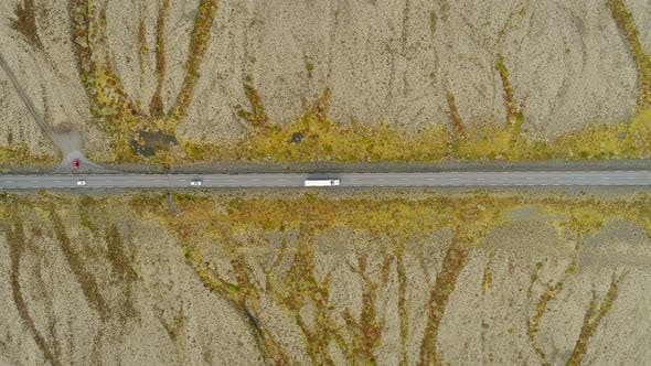 Cover Image for Aerial View Of Cars Driving The Road