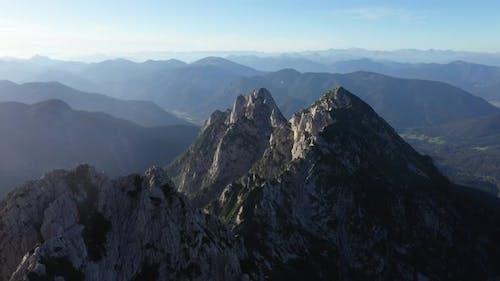 Flight above mountains peak in julian alps,Mangart,Triglav National Park
