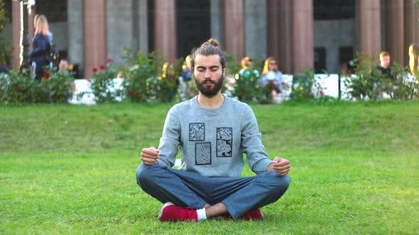 Bearded man meditates on green grass