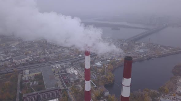 Thumbnail for Smoke Comes From the Chimney. Aerial. Air Pollution. Ecology. Kyiv. Ukraine.