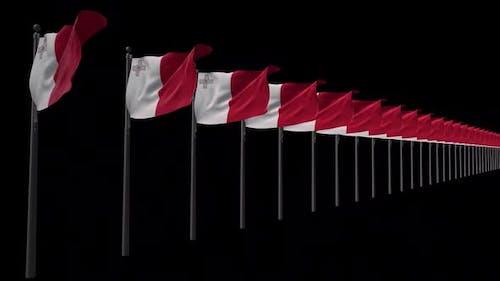 Row Of Malta Flags With Alpha 2K