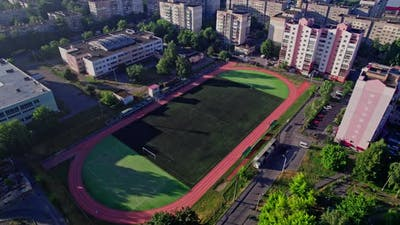 Aerial View of Small Soccer or Football Stadium