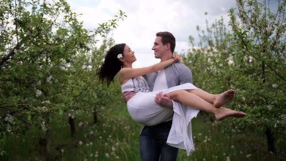 Thumbnail for Happy Romantic Couple Dating in Blooming Orchard