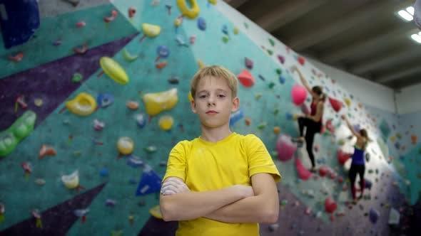 Thumbnail for Caucasian Teenage Boy Posing at Climbing Gym