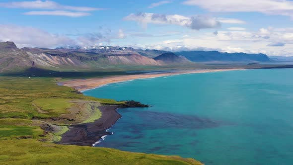 Thumbnail for Iceland. Aerial View on The Coastline and Ocean. Landscape in The Iceland at The Day Time.