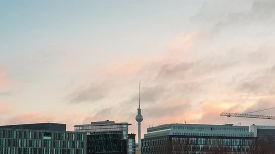 Time lapse of Berlin skyline clouds moving fast, TV Tower Germany
