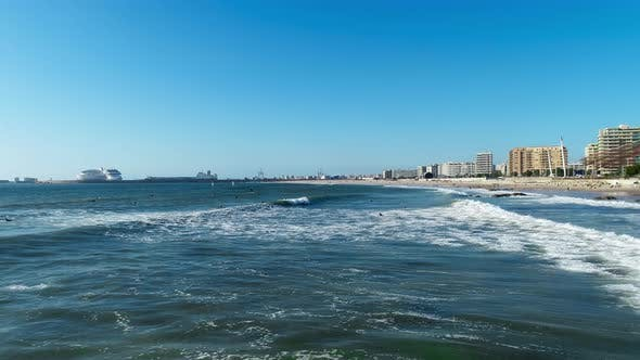 Waves Break in Surf Line