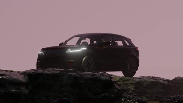 Thumbnail for Black Luxury Off-Road Vehicle Progressing in the Foggy Mountain Area