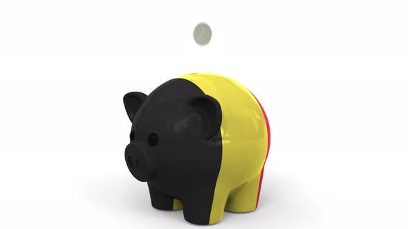 Thumbnail for Coins Fall Into Piggy Bank Painted with Flag of Belgium