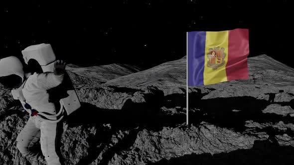 Andorra Flag on Moons Surface With Floating Astronaut
