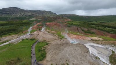 Famous Geysir in Iceland seen from the air