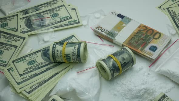 Thumbnail for Criminal Money Profit Of The Drug Cartel From The Sale Of Cocaine And Narcotic Tablets
