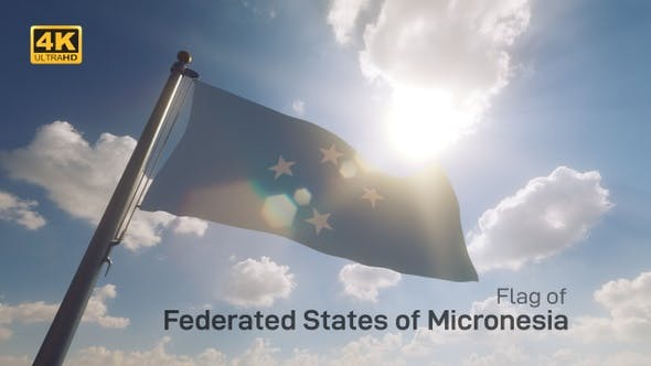Thumbnail for Micronesia Flag on a Flagpole V2 - 4K