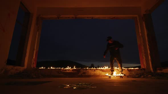 Skateboarding on a burning skateboard