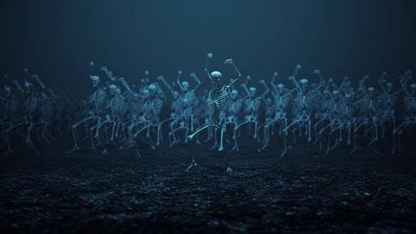 Skelette tanzen zusammen mit Filmmusik Kamerabewegungen V2 4K
