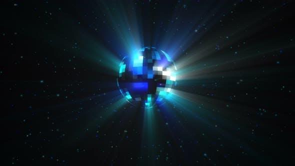Thumbnail for Nahtlose Animation der Rotation einer bunten bunten Discokugel mit Partikeln und Strahlen