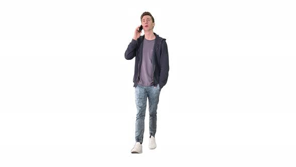 Happy Student Walking and Talking on Mobile Phone on White Background