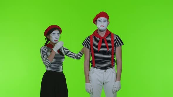Thumbnail for Frustrated Mimes Cry On A Green Background