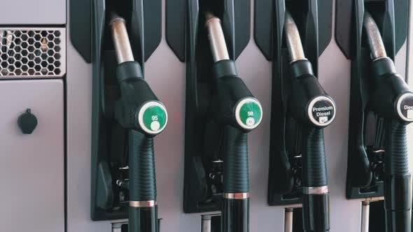 Thumbnail for Gasoline or Petrol Station Gas Fuel Pump Nozzle. Different Gasoline Gun