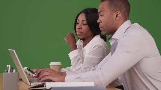 Thumbnail for Business people working together at laptop computer on green screen