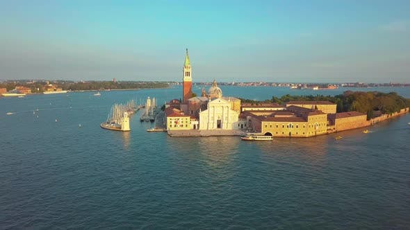 Thumbnail for Venice Cityscape Aerial View Grand Canal San Marco Bell Tower Mark Square Italy