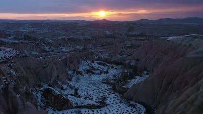 Cappadocia in Winter at Sunset