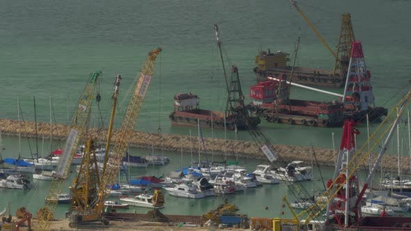 Thumbnail for Aerial View of Dock When Contained Barge with Sand By Crane. Hong Kong, China