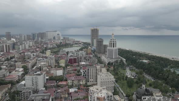 Thumbnail for Top aerial view of beautiful lake in the center of Batumi. flying over 6 May park. Georgia