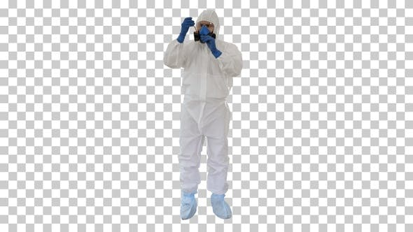 Thumbnail for Doctor in Hazmat Suit and Gas Mask Holding, Alpha Channel