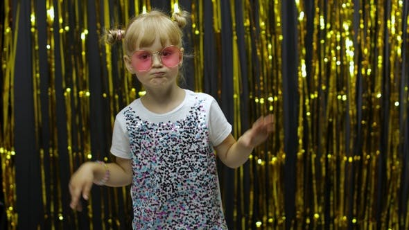 Thumbnail for Stylish Child Dancing, Make Faces, Waving Hand in Silly Dance. Little Blonde Kid Girl 4-5 Years Old