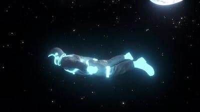 Astronaut with Neon Lights in Dark Space