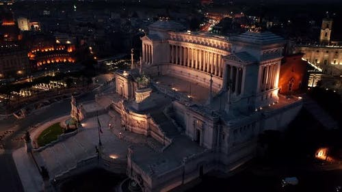 Aerial view of Vittoriano, famous landmark in Rome, Italy