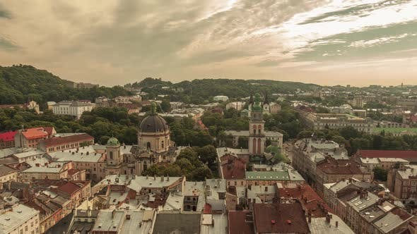Thumbnail for Time Lapse in Lviv, Ukraine. Roofs and Streets Old City Lvov, Ukraine. Central Part
