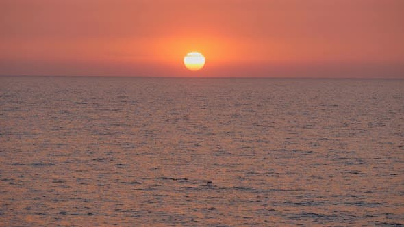 Red Sunset in the Sea.