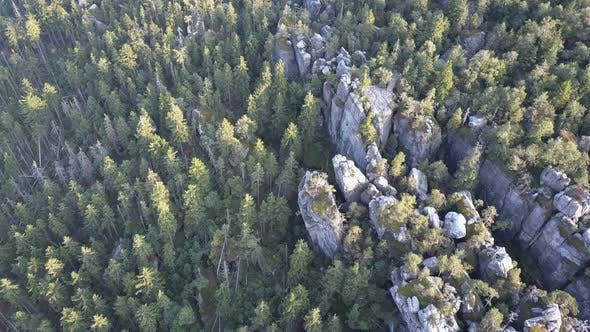 Amazing Rock Formation on Szczeliniec Wielki in Table Mountains National Park. Tourist Attraction of
