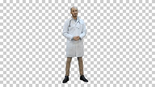 Thumbnail for Smiling male doctor talking to the camera, Alpha Channel