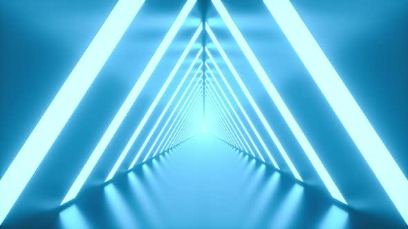 4K Video animation. Loop video of a tunnel with bright lights on the laterals. Futuristic concept.