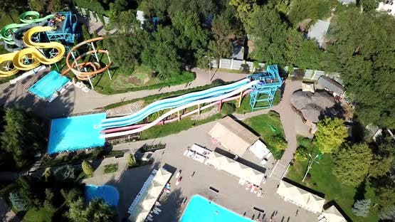 An Outdoor Water Park Plenty of Slides Pools